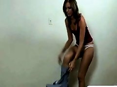 Petite pretty girl strips before blowjob