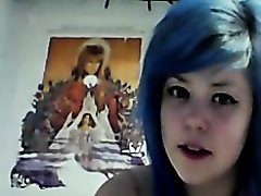 Sexy emo girl masturbates on webcam