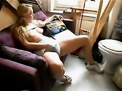 Blond chick plays with her neighbour